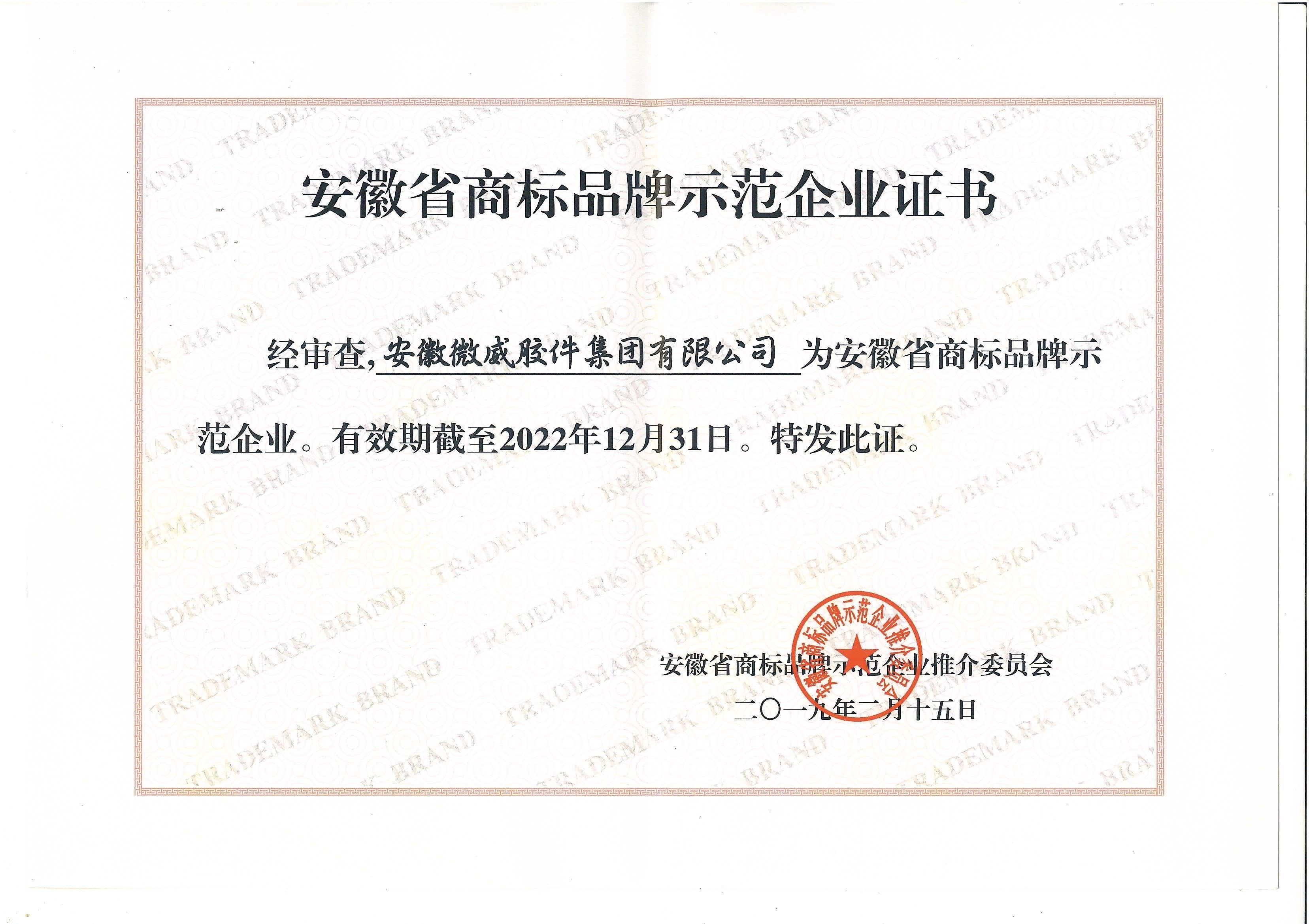 我司获得安徽省商标品牌示范企业荣誉称号(图1)